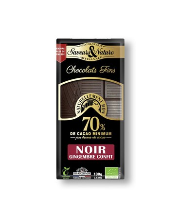 Saveurs&Nature Chocolat noir 70% cacao gingembre confit